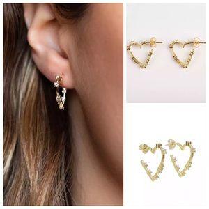 Melinda Maria Heart Huggie Earrings small hoops